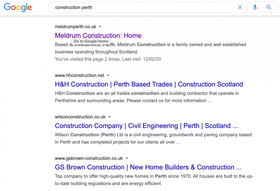 Meldrum Joinery and Building SEO Google Ranking AJD Digital