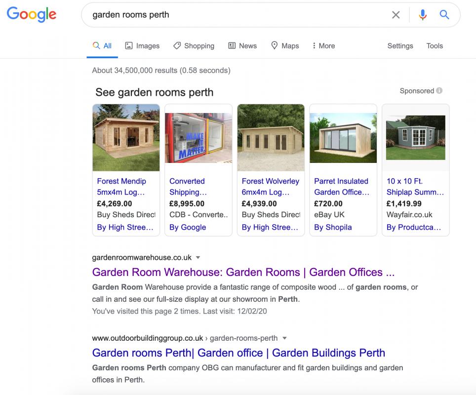 Garden Room Warehouse SEO Google Ranking AJD Digital