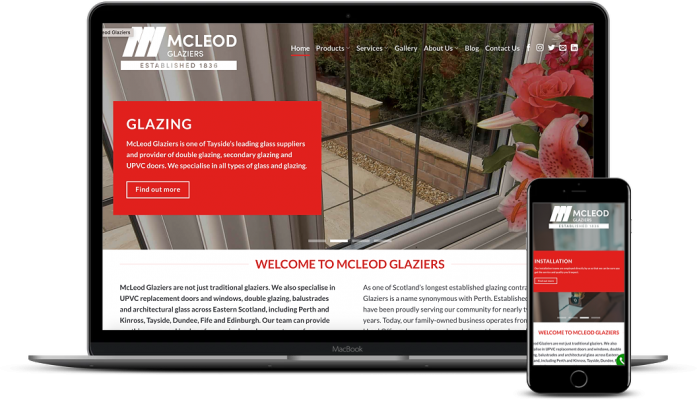 McLeod Glaziers new website by AJD Digital