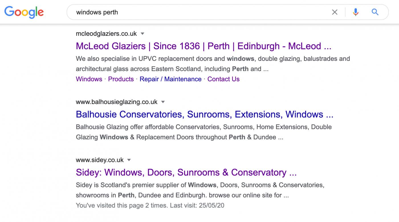 McLeod Glaziers SEO Google Ranking AJD Digital